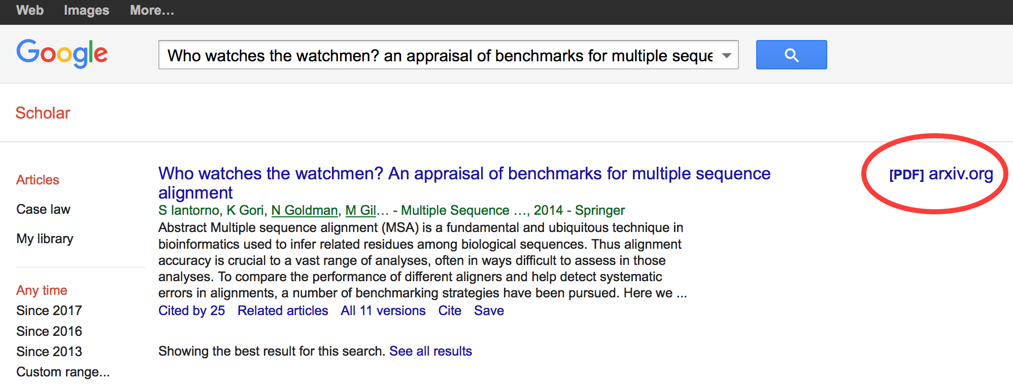 screenshot of google scholar with link in the right margin circled